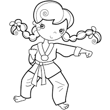Karate Girl Training Coloring Pages PagesFull Size Image