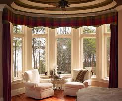 Living Room With Fireplace And Bay Window by Brown Living Room Curtains Glass Window White Proyektor White