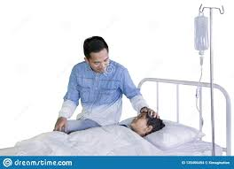 100 Studio Son Young Father Visiting His Sick On Stock Photo
