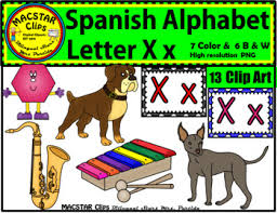 Letter X x Spanish Alphabet Clip Art Letra Xx Personal and