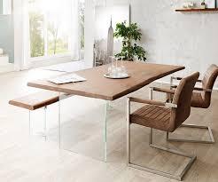 delife esstisch live edge akazie braun 200x100 cm mit 2 stühlen 1 bank kaufen otto