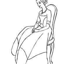 Sophisticated Princess Seated Coloring Page