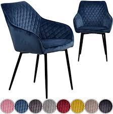 iomangio esszimmerstühle 2er set blau esszimmerstuhl mit armlehne küchenstuhl polsterstuhl design stuhl mit rückenlehne mit sitzfläche aus