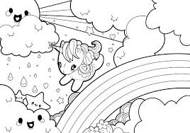 Cute Kawaii Coloring Pages Colouring Rainy Rainbow Unicorn Animal