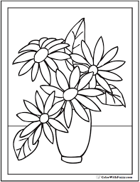 Simple Vase And Flowers Coloring Pages