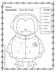 Color By Number Worksheets Fall Winter