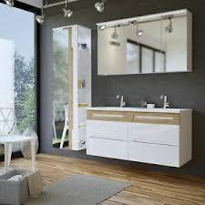 details zu badmöbel set 5 tlg badezimmerset laxy 2 weiss hgl inkl waschtisch 120cm