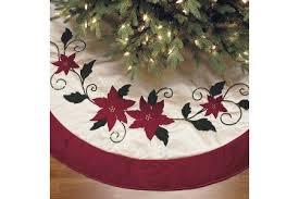 Christmas Tree Skirt Luxury Faux Fur Poinsettia