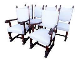 Set Of Six Vintage Solid Reupholstered Jacobean Style Oak ... Antique Jacobean Distressed Walnut Library Refectory Sofa Set Of 6 Jacobean Style Ding Chairs English Charles Ii Walnut Arm Chair Amazoncom Outdoor Camping Chairfolding Chairultra Light Vintage Pair Leather Chairs Contemporary Pottery Barn Folding Teak Rocking A Pair Buy Pad With Ties Gem Blue Floral Arden Selections Ashland Cushion Oak Monks Bench Portable Foldable Mini