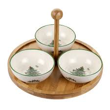 Spode Christmas Tree Wine Glasses by Spode Christmas Tree Wood U0026 Ceramic 4 Piece Set Round Tray With 3
