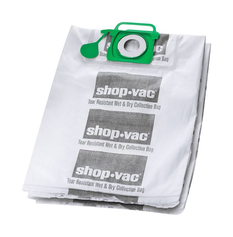Shop-Vac 9021533 Wet/Dry Tear Resistant Collection Filter Bags - 5-10 gal, White