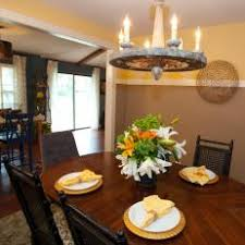 Eclectic Dining Room With Two Tone Wall Color