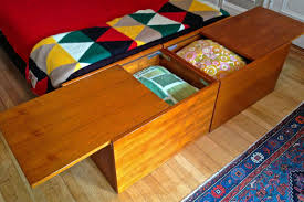 Dwr Min Bed by Danish Sliding Top Teak Chests With Norwegian Triangle Pattern