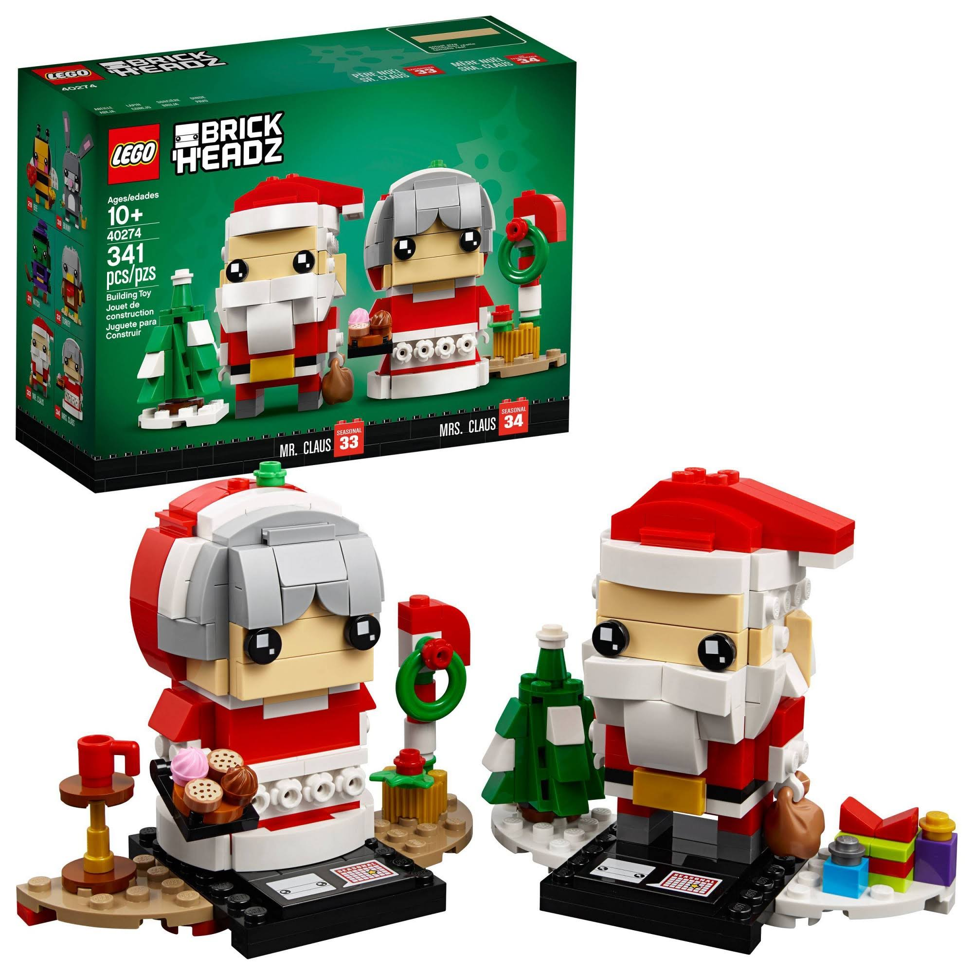 Lego Seasonal Brick Headz Mr. Mrs. Claus Set - 341pcs