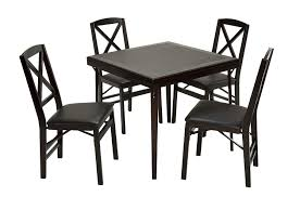 Cosco Folding Espresso Wood Table Square With Vinyl Inset