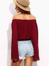 burgundy lace trim bell sleeve off the shoulder top shein sheinside