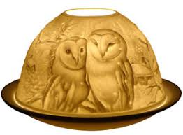 Light Glow Barn Owls Tealight Candle Holder Tea Light Votive Dome