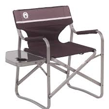 Folding Patio Chairs Amazon by Amazon Com Coleman Portable Deck Chair With Side Table Camping