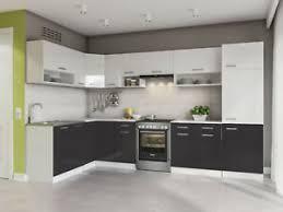details zu küche l form weiss schwarz 327x167 cm hochglanz küchenzeile komplett küchen