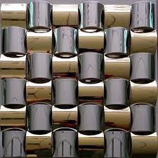 3d convex design golden mixed silver stainless steel metal mosaic
