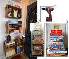 diy vintage wood crate shelving