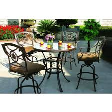 5 Piece Bar Height Patio Dining Set by Darlee Ten Star 5 Piece Cast Aluminum Patio Bar Set With Swivel