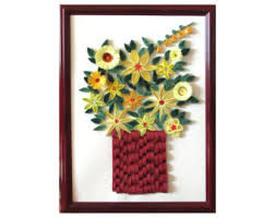 Quilled Yellow Posies In Red Frame Flower Quilling Art Floral Wall Framed