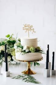 A Minimalist Wedding Cake With Our Beautiful Gold Stand Better Together Topper And
