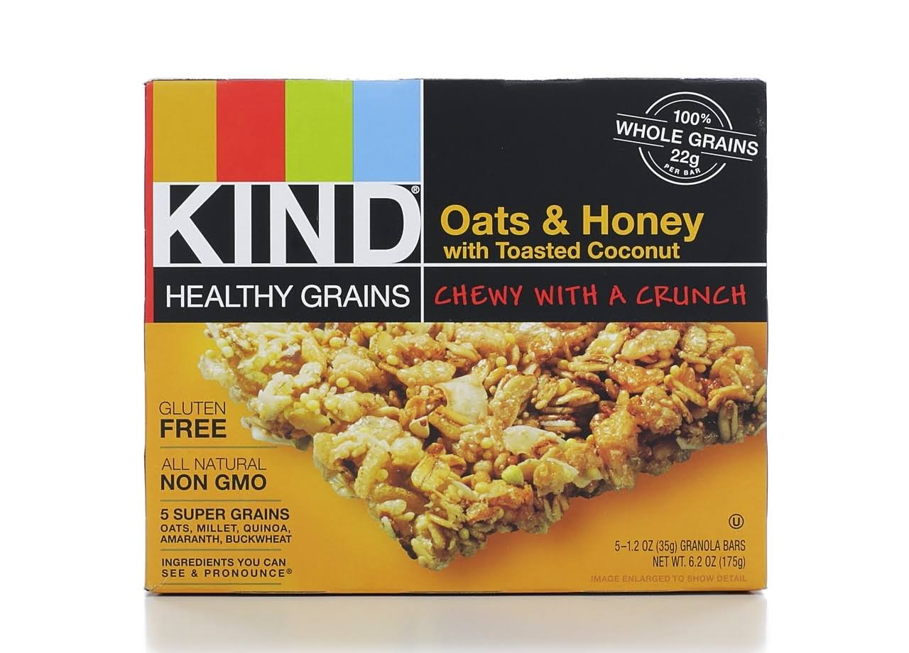 Kind Healthy Grains Bars Healthy Grains Bars - Oats & Honey With Toasted Coconut, 5 Granola Bars, 175g