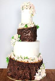 White And Brown Rustic Wedding Cake