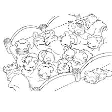 Cute Hamsters Sleeping Coloring Page