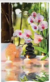abakuhaus spa schmaler duschvorhang kerzen orchideen relax foto badezimmer deko set aus stoff mit haken 120 x 180 cm mehrfarbig