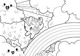 Coloring Pages Kawaii Rainy Rainbow Unicorn Scene Page