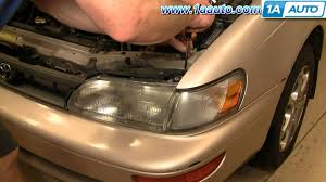 how to install replace headlight and bulb toyota corolla 94 97