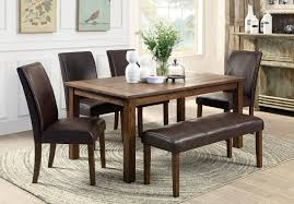 6 Person Wooden Based Dining Furniture Set With Brown Leather Upholstered Bench And Chairs Also Table