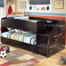 White Low Loft Bed With Desk by Twin Loft Bed With Caster Bed And Right Storage Steps By Signature