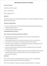 Sample Manufacturing Technician Resume Template