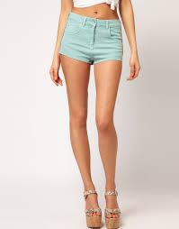 asos collection asos high waisted denim shorts in soft turquoise