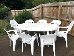 Garden Tables And Chair 8 Seat White Plastic Table Set In