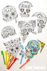 Day Of The Dead Colouring Pages For Grown Ups And Kids Free Printable Candy Skull Style Sheets