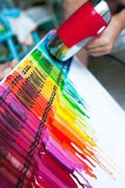 Use A Hair Dryer To Melt Crayons Over Poster Board For An Artistic Project With The Kids