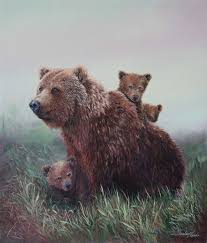 Bear And Cubs Painting Family Outing Wildlife Paintings Mother Bears Remain With Young