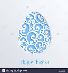 Happy Easter Greeting Card With Paper Cut Egg Vector Design Template