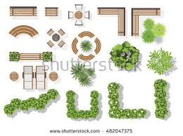 Set Of Vector Wooden Benches And Treetop Symbols Collection For Landscaping Top View