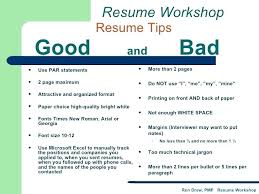 Examples Of Good And Bad Resumes Example A Resume Workshop Funny
