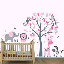 Wall Mural Decals Tree by Gray U0026 Orange Wall Decals Jungle With Elephant Wall Art For Boys Rooms