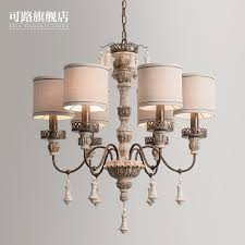 American Country Iron Chandelier Nordic Pastoral Personality Carved Wooden Dining Room Bedroom Lamp French Wood ICON2 For Sale Home Additions Remodeling