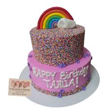 2394 2 Tier Rainbow Sprinkle Birthday Cake ABC Cake Shop & Bakery