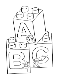 Lego A B C Blocks Coloring Page