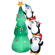 Christmas Tree Trimming Inflatable Penguin Scene Removal Bag Video